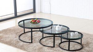 שולחן סלון אגם שחור & זכוכית