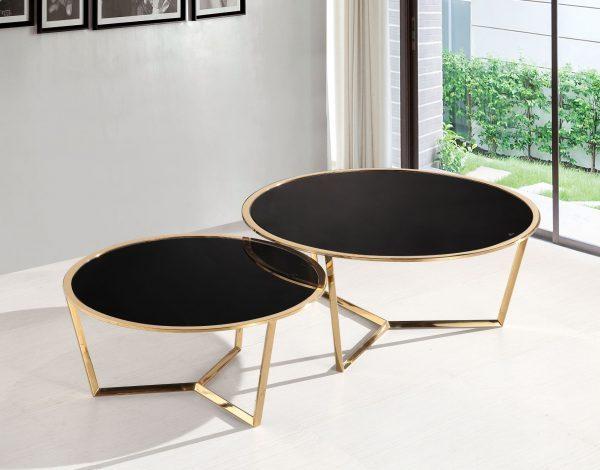שולחן סלון אורן זהב & שחור