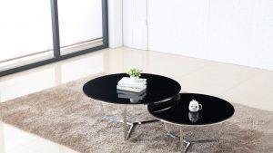 שולחן סלון אורן כסף & שחור